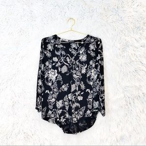 Lucky Brand floral jersey popover blouse